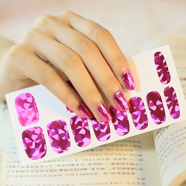 Nail Art Adhesive Decals Nails Patch Sticky Foils Polish Purple Red ...