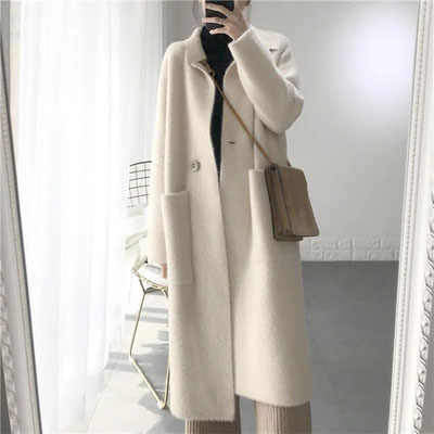 2019 Winter Woman Wool Cashmere Solid Loose Coat Jacket Women Woolen Simple Coat Elegant Lady Long Blend Coats Cardigan
