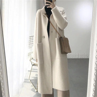 2019 Winter Woman Wool Cashmere Solid Loose Coat Jacket Women Woolen Simple Coat Elegant Lady Long Blend Coats Cardigan