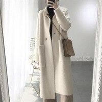 2019 Winter Woman Wool Solid Loose Coat Jacket Women Woolen Simple Coat Elegant Lady Long Blend Coats