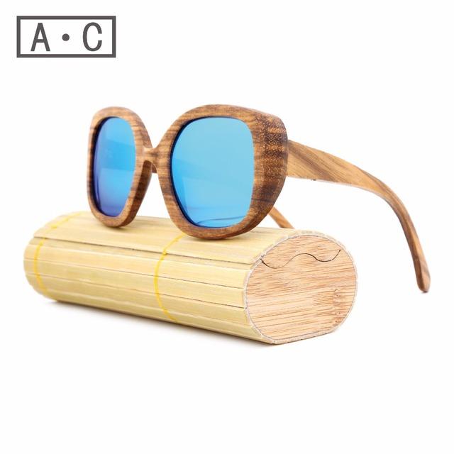 New produtos de moda de bambu óculos de sol das mulheres dos homens de vidro lente au retro de madeira do vintage moldura de madeira feitos à mão