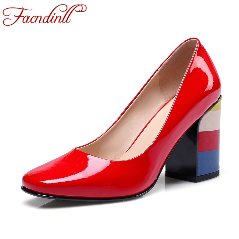 fashion brand shoes square toe high heel mixed colors slip-on shallow modern women pumps patent leather office lady dress shoes vintage big bowtie women shoes bright color high quality patent pu leather low heel shallow slip on shoes woman xwd3767