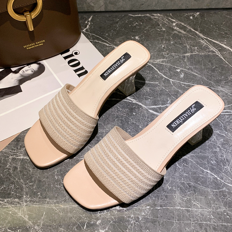 Slip On High Heels Sandals Fashion Transparent Heels Sandals Women Shoes Summer 2019 Soft Elegant Slippers Women White Sandals in Slippers from Shoes