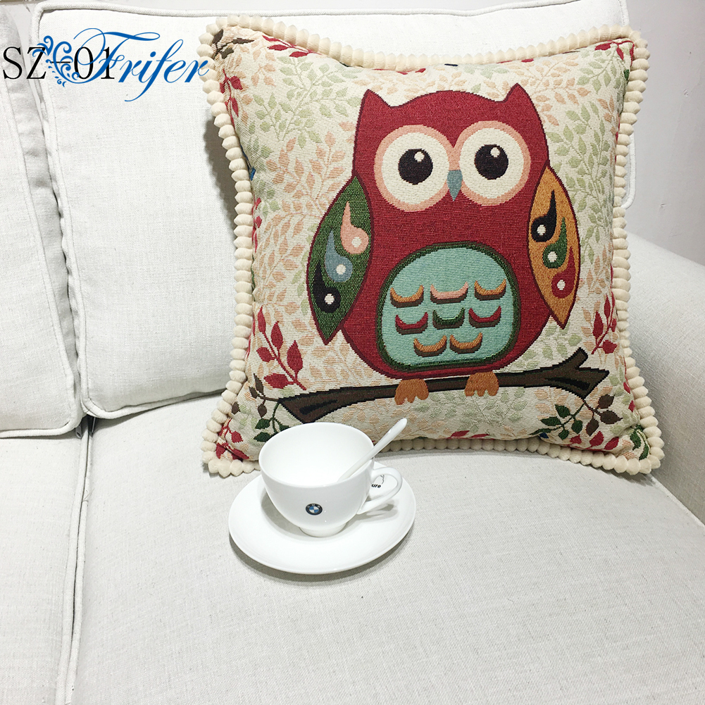 <font><b>50x50cm</b></font> Cartoon Owl Cushion Covers <font><b>Pillow</b></font> <font><b>Cases</b></font> Quality Cotton Linen Pillowcase For Chair Seat Throw Cover Sofa Car Home Decor image