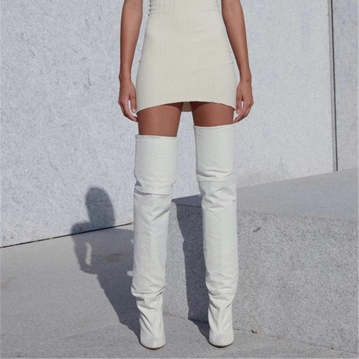 70a6e1de21e Fashion Runway 2018 White Thigh High Boots Women Celebrity Kim Kardashian  Shoes Woman Sexy Stiletto Heels Over The Knee Booties-in Over-the-Knee Boots  from ...