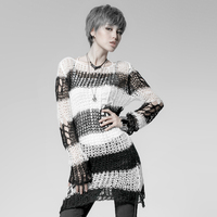 Punk Broken Pullover Ladies Stylish Cape Sweater Steampunk Round Collar Casual Long Striped Sweater Tops