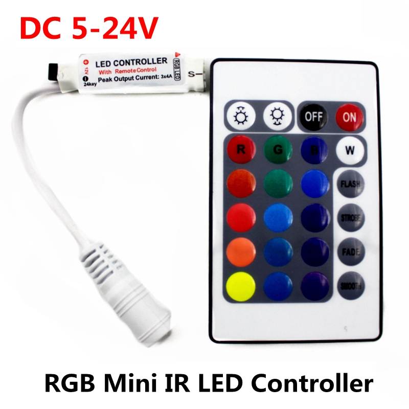 Kontrollues mini Remote Mini DCK 5V 12V 24V 12A 12A RGB IR 24Keys Shofer LED Dimmer Për 5050/2835/3528/5730/5630/3014 RGB LED shirit LED