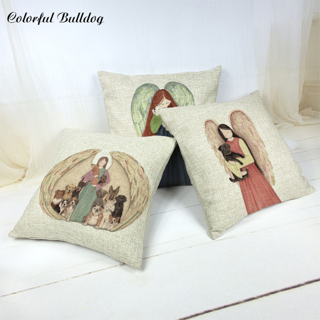 4545 Cm Sayap Gambar Kartun Gadis Cushion Set Anjing Lucu Hewan