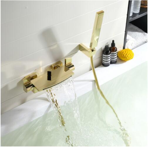 HTB16JUzXoT1gK0jSZFhq6yAtVXa1 Wall Mounted Brass Bathroom Gold Waterfall Bathtub Faucet set Square hand held Shower Faucet Sets Bathtub Faucet Set