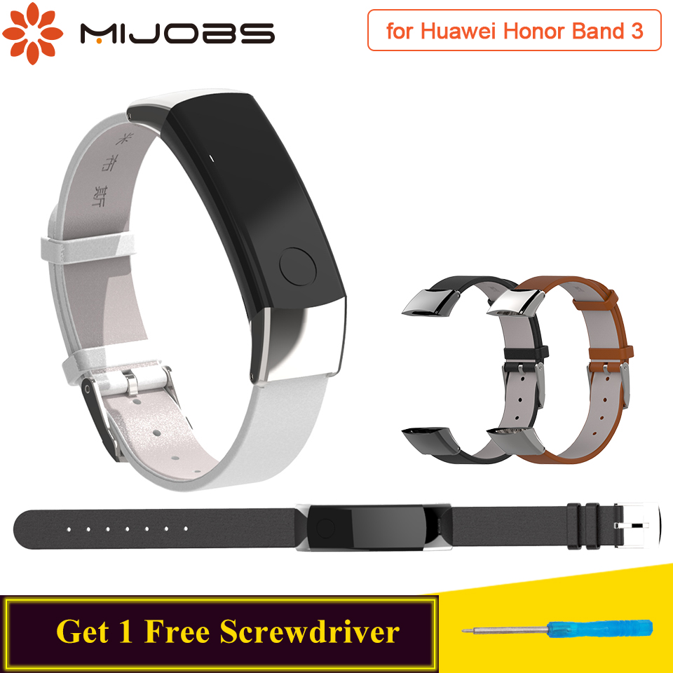 Mijobs Genuine Leather Strap For Huawei Honor Band 3 Strap Watch Band Bracelet Replace For Honor Band 3 Strap Smart Wristband