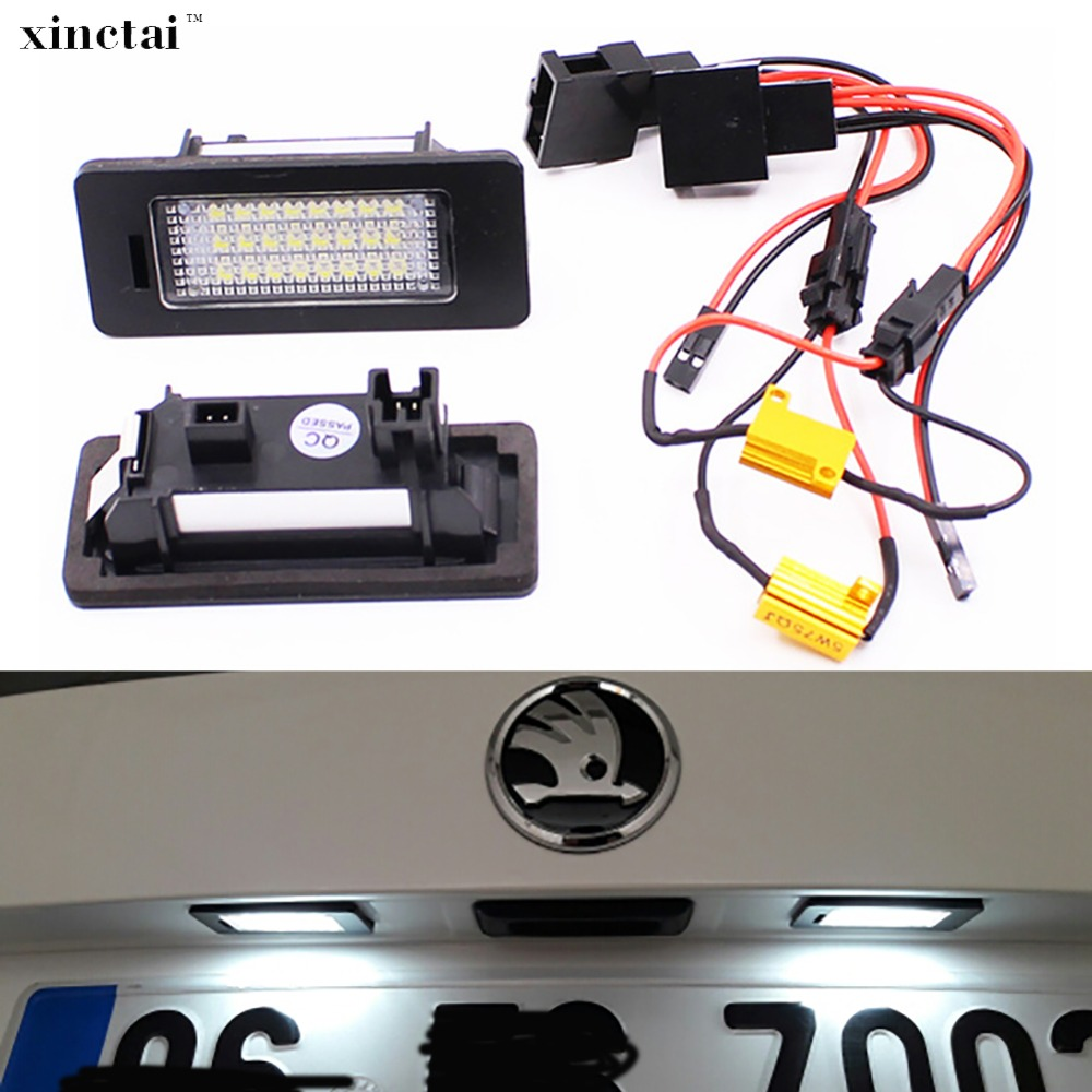 2PCS Super Bright LED Number License Plate For Skoda Octavia 3 Superb B6 Rapid Combi Yeti 5L Fabia Mk2 Mk3