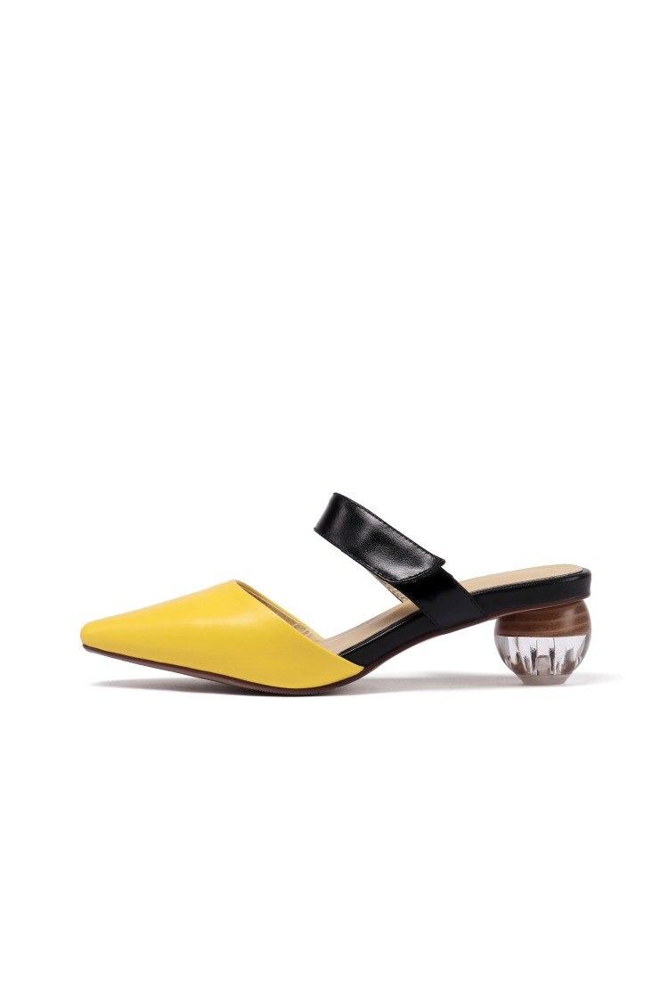 Moda Y white Una Color Yellow Puntiagudos Bomba La Un Casuales Zapatos Cuero De Par Simple Forma Bola Con Mujer Cristal pHg6nqd