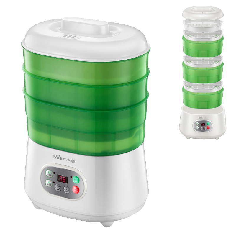 JA24 Multifunctional Bean Sprout Machine 3 Layer Intelligent Automatic Homemade Sprouts Bud Machine PP Microcomputer Control yoga sprout 90060 90080 3 6