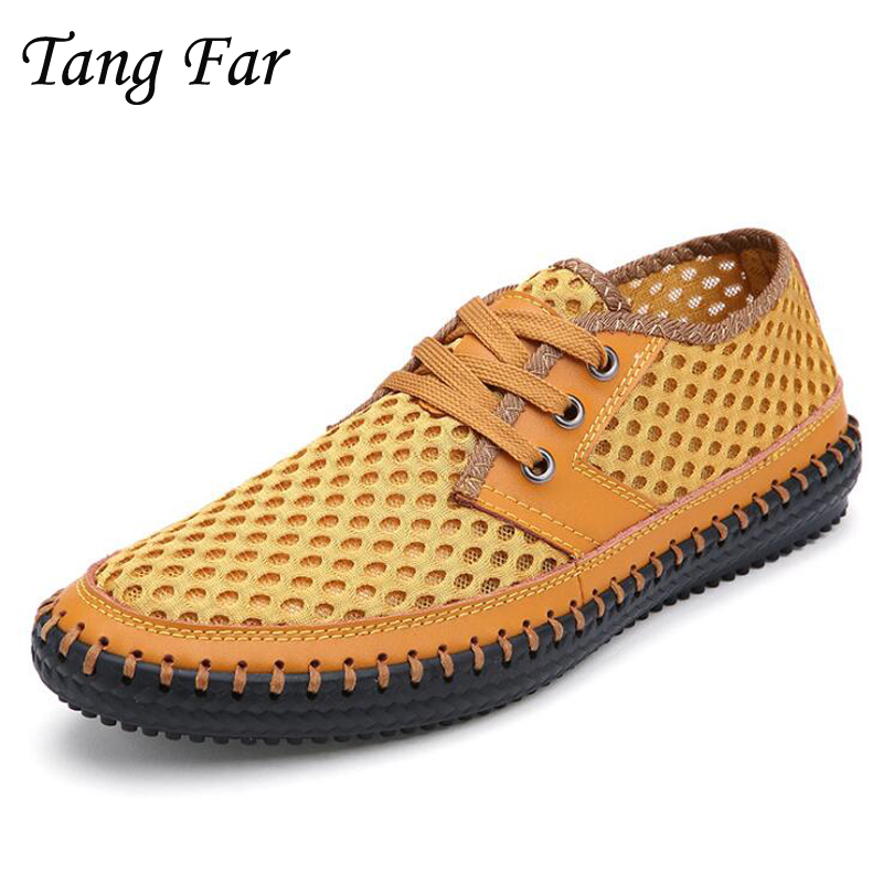 Big Size 48-39 Men Sandals Air Mesh Summer New Mens Outerdoor Travelling Shoes Breathable Loafers Larger Yards