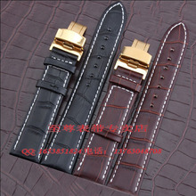 22mm 20mm Wholesale Price New Top Quality Black Genuine Leather Watch Strap Alligator Pattern Watchband Gold Deployment Clasp
