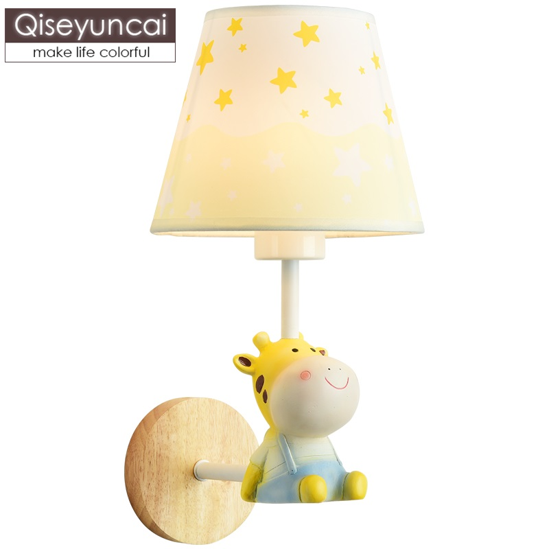 Qiseyuncai Nordic simple children's room wall lamp cute animal cartoon male girl bedroom bedside wood wall lamp free shipping|LED Indoor Wall Lamps| |  - title=