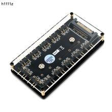 12 דרך 5 V RGB LED ספליטר HUB עם PMMA מגנטי תיקו SATA 15 פינים אספקת חשמל עבור ASUS/MSI 5 V 3pin LED בקר