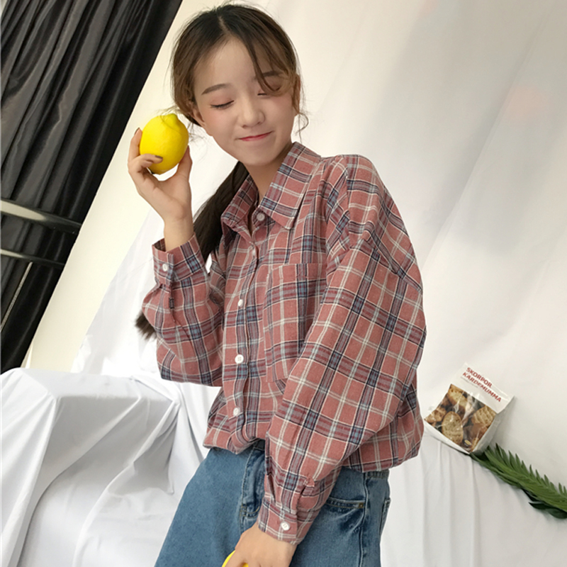 2018 new wild luggage pocket loose students long sleeve shirt early autumn wind blowing Korean temperament shirt