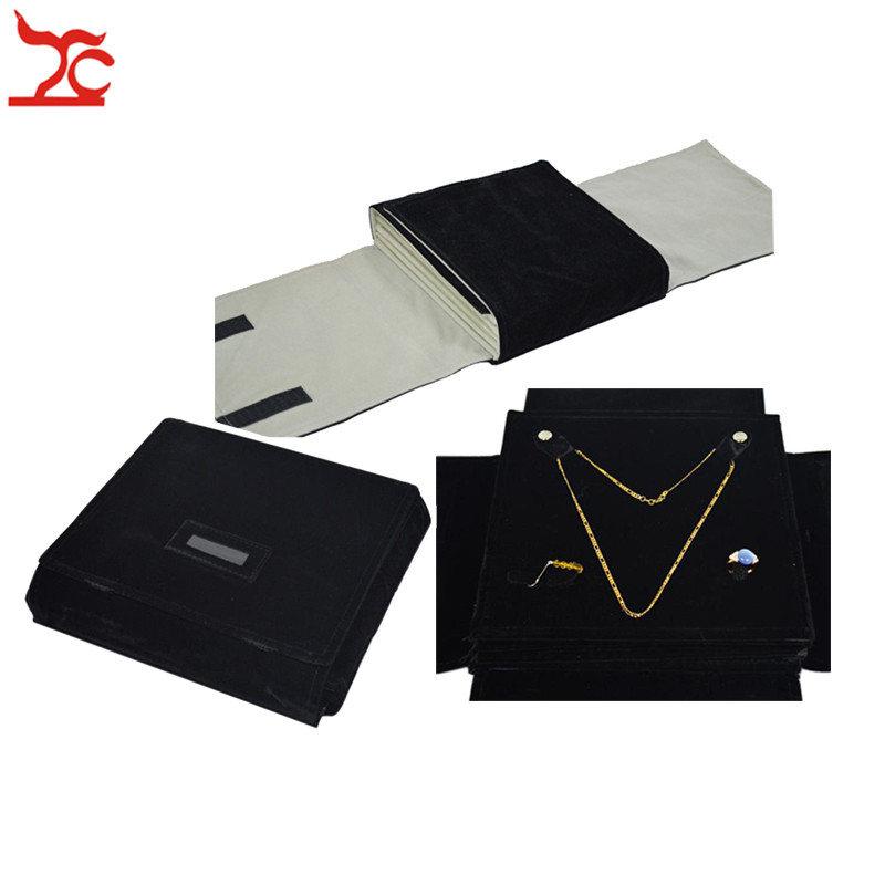 Sale 5 Layer Velvet Jewelry Display Storage Pouch Black Pendant Necklace Earrings Ring Holder Travel Roll Bag Pearl FolderSale 5 Layer Velvet Jewelry Display Storage Pouch Black Pendant Necklace Earrings Ring Holder Travel Roll Bag Pearl Folder