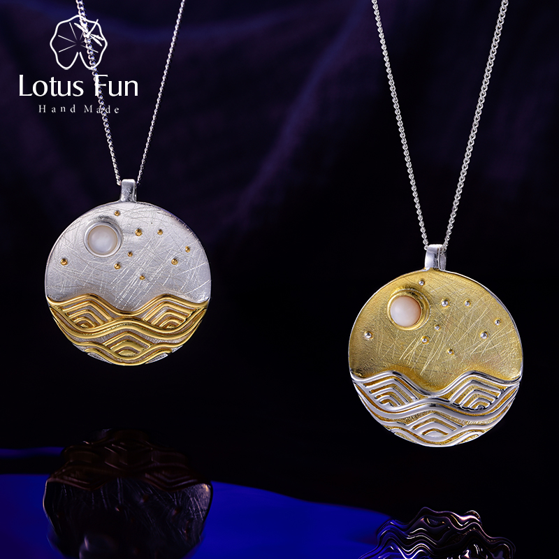 Lotus Fun Real 925 Sterling Silver Handmade Natural Fine Jewelry The Moonlight Design Pendant without Chain Acessorios for Women недорого