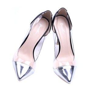 Image 5 - Genshuo Zilver Lakleer Vrouwen Hoge Hakken Kleding Schoenen Sexy Transparante Clear Pvc Dames Pumps Voor Vrouwen Stiletto