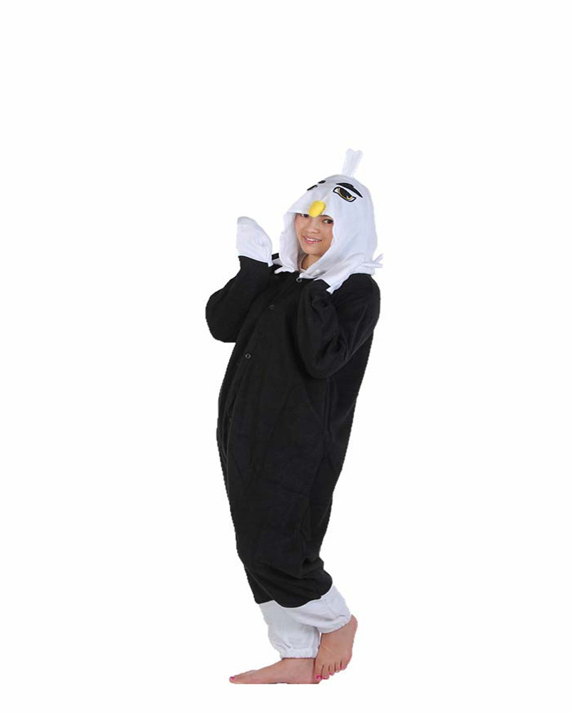 Hot Sales Black Eagle Cute Onesie Warm Winter Pajamas Novelty Animal Pajamas Whole Nightgowns Women Sleepwear Long Sleeve Size