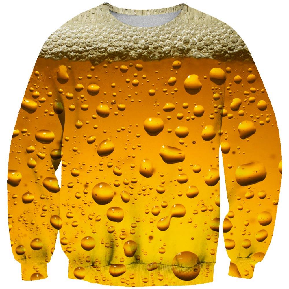 2019 New Fashion Long sleeve sweatshirt Beer food 3D Print Men's Women's Casual ers