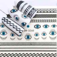 LCJ 1 PC negro flor/ojo/encaje Hada diseños de transferencia de agua pegatinas de Arte de uñas DIY envoltura de moda consejos para manicura