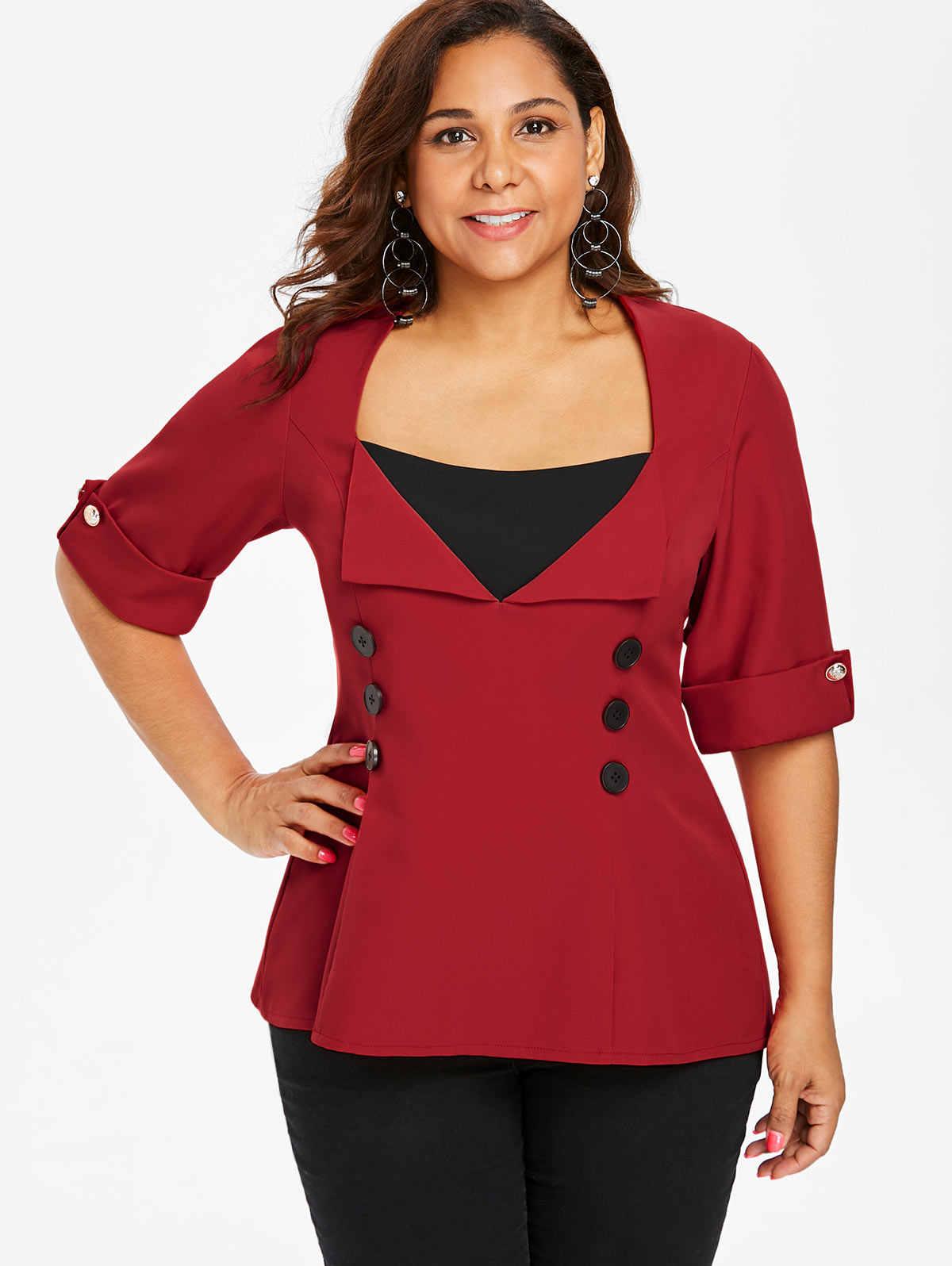 4399b174b57e4e ... Wipalo Women Plus Size Two Tone Dip Hem Blouse Buttons Back Criss Cross  High Low Shirts ...