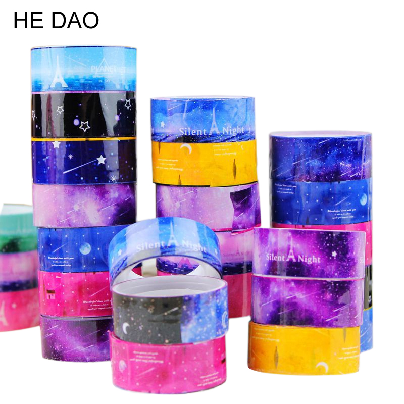 Free Shipping 10 pcs/lot Starry Sky Washi Pvc Roll DIY Decor Scrapbooking Sticker Masking Tape Adhesive 0929 quality guarantee yellow matte vinyl wrap film foil car sticker with air bubble free fedex free shipping size 1 52 30m roll