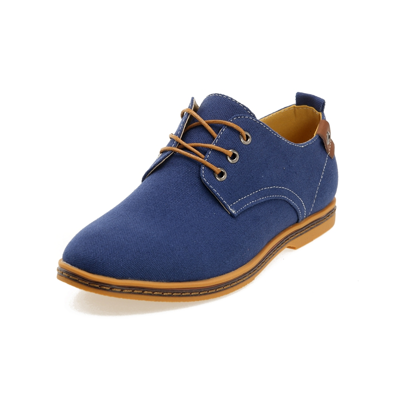 GOXPACER 2018 New Autumn Shoes Men Canvas Casual Shoes British Style Flat Heel Lacing Nubuck Leather Men Flats Plus Size
