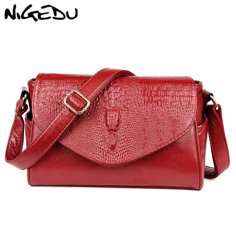 NIGEDU 3D crocodile Women Messenger Bags Fashion Ladies Shoulder Bag High quality PU leather Female Crossbody Bags Bolsa brand