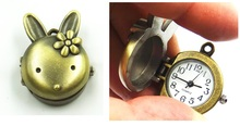 New Small Bronze POCKET WATCH Woman CUTE TINY RABBIT Flowers chain necklace Women steampunk Vintage Jewelry