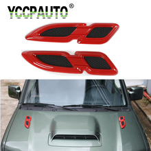 YCCPAUTO Exterior Accessories Air Flow Fender Engine Hood Caps Sticker For Jeep  Wrangler 2000 2016 ABS Hood Scoop Vent Cover
