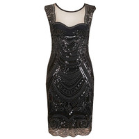 Womens Sexy Sequins Round Neck Flower Lace Party Bodycon Back See Through Evening Mother of Bride Special Occasion Dress