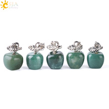 CSJA Apple Pendant Natural Stone 5pcs/lot Lovely Fruit Necklace Pendants White Opal Multicolor Crystal Quartz Charm Jewelry S077