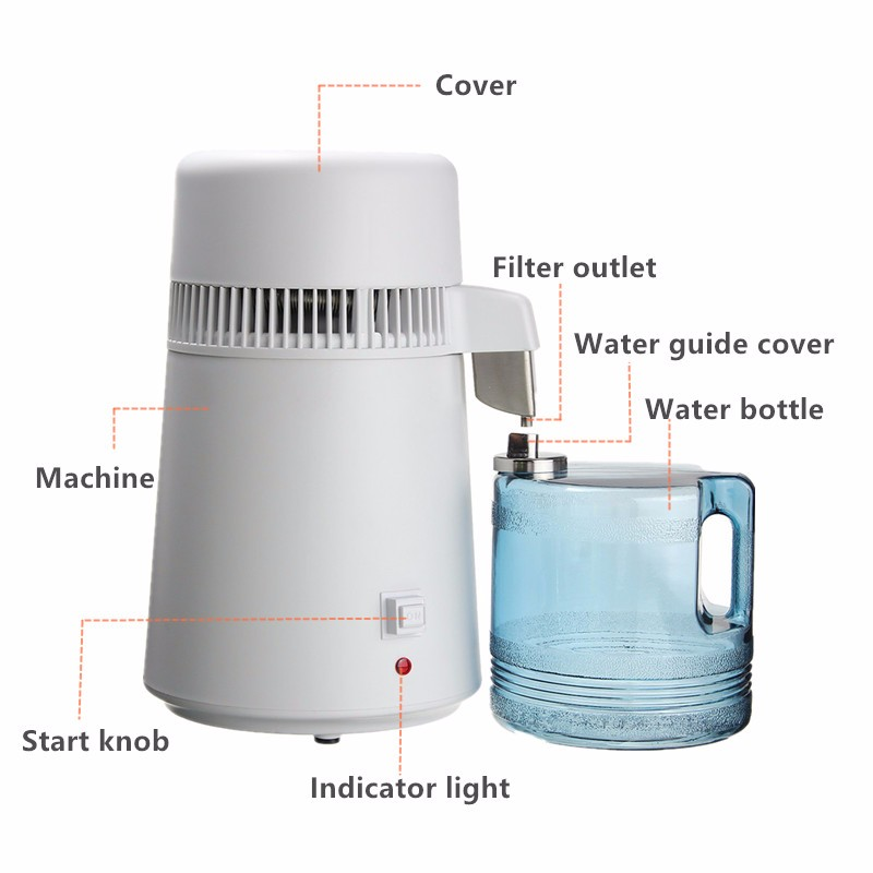 110V/220V 750W 4L Pure Water Distiller Water Purifier Container Stainless Steel Water Filter Device Household Distilled Water - 2
