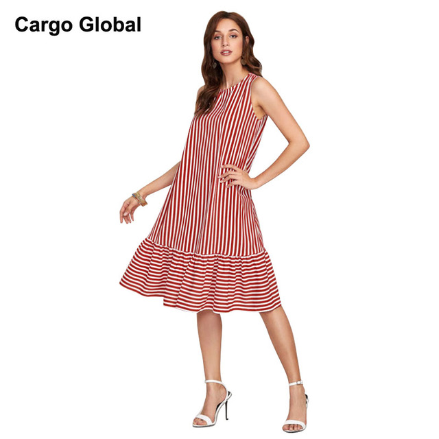 4e6aad76587e Sexy Women Plus Size Maxi 2018 Latest Fashion Dress Wide Red White Striped  Beach Dress Striped Boho Dresses