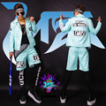 2015 New Singer man DJ Nightclubs right Zhi-Long GD mint blue textures removable sleeves leather motorcycle costume S-5XL