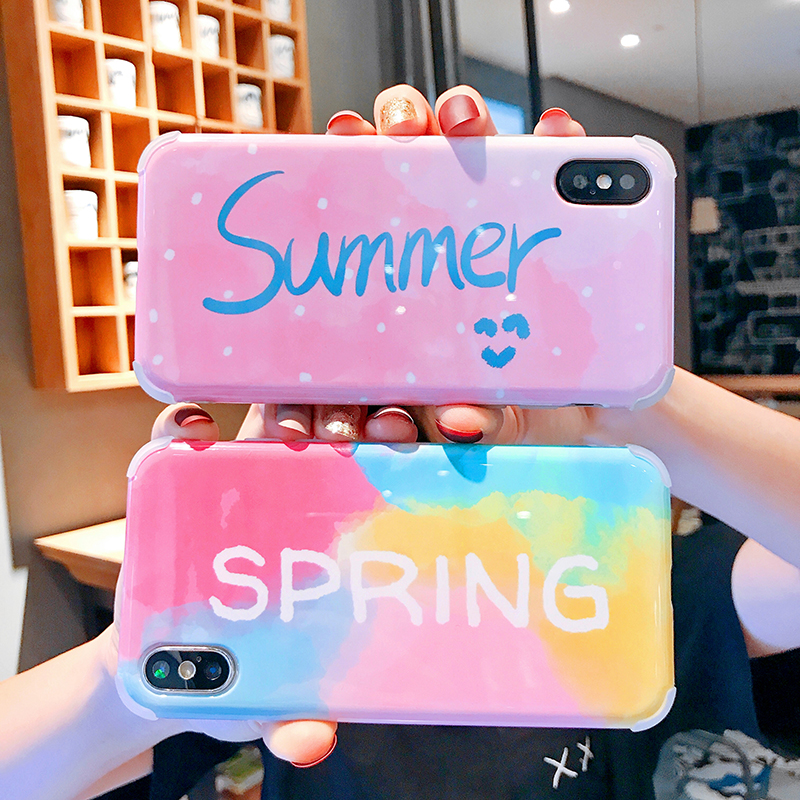 Luxury Cute Colorful English Summer Soft Anti-fall Airbag Glossy Shell Phone Cases For Apple iphone 6 6s 7 8 Plus Xs Xsmax Xr X