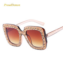 Prouddemon 2018 Newest Oversized Square Sunglasses Women Luxury Brand Designer Ladies Diamond Frame Mirror Sun Glasses Oculos