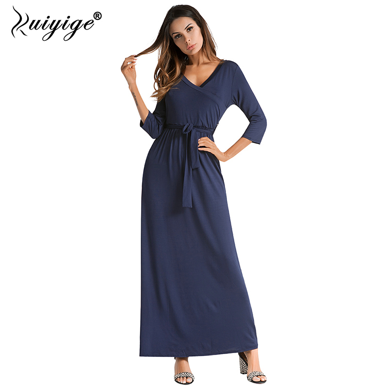 6013f0adf0aa2 US $17.35 39% OFF|Ruiyige 2018 Summer Maxi Dress Sexy Solid Casual With  Belt Bench Dress Women Long V neck Robes High Waist Party bench Vestido-in  ...