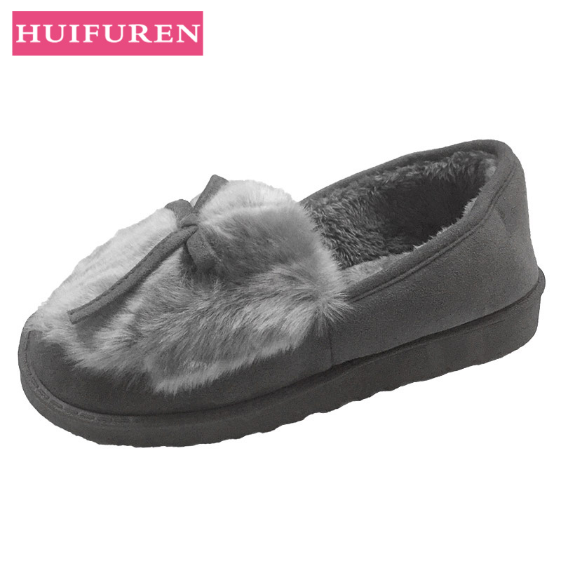 2018 Winter Heat Slippers Footwear Bowtie Plush Inside Loaferes Girls Indoor Dwelling Slippers Pantuflas Girls Slip On Footwear Slippers, Low cost Slippers, 2018 Winter Heat Slippers Footwear Bowtie Plush...