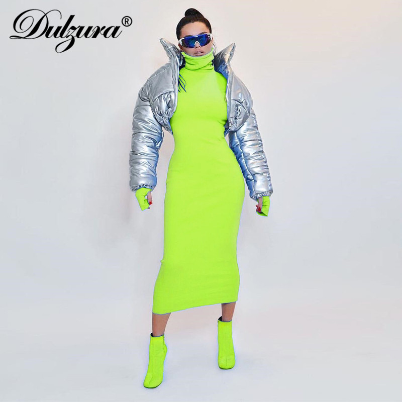 Dulzura women neon long sleeve maxi dress ribbed knitted high neck warm 2019 autumn winter dress elegant bodycon new clothing