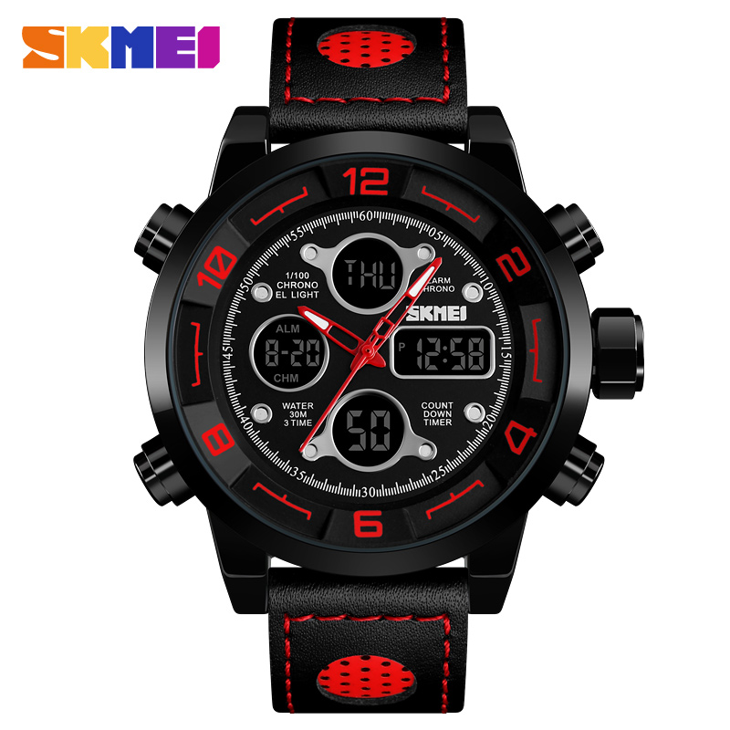 Skmei Relogio Digital Military Men's Watch Sport fitness Watches Leather Strap Glass Mirror Big Dial Electronic Clock For Man