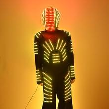 LED Clothes 2015 New Glowing Helmet Cool Men's Luminous Clothing Talent Show Suits Ballroom Mechanical Dance Dress Accessories