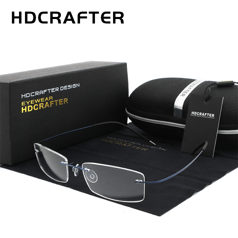 HDCRAFTER Mens Lightweight Titanium Rimless Eyeglasses Frames Prescription Optical Glasses Frame For Women Frameless Frames