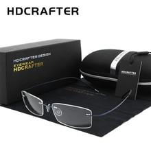 HDCRAFTER Mens Lightweight Titanium Rimless Eyeglasses Frames Prescription Optical Glasses Frame for women Frameless