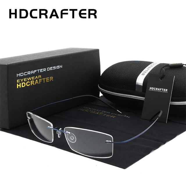 HDCRAFTER Mens Lightweight Titanium Rimless Eyeglasses Frames Prescription Optical Glasses Frame for women Frameless Frames
