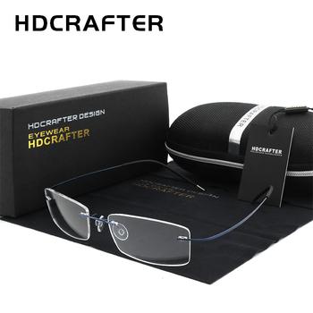 HDCRAFTER męskie lekkie oprawki do okularów bez oprawek tytanowych okulary korekcyjne do okularów optycznych ramki dla kobiet bezramowe ramki tanie i dobre opinie Tytanu Unisex Stałe Glasses Frame FRAMES Okulary akcesoria
